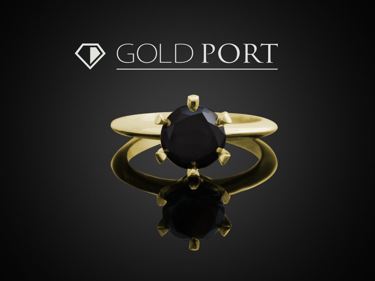 Pierścionek zaręczynowy ze złota 585 z czarnym brylantem